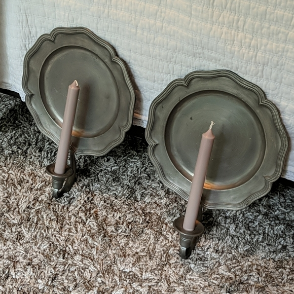 Pewter wall candlestick holders